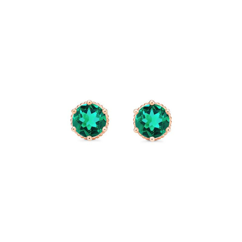 [Evelyn] Vintage Classic Crown Earrings in Lab Emerald - Earrings - Michellia Fine Jewelry