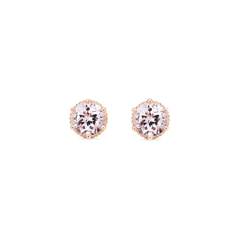 [Evelyn] Vintage Classic Crown Earrings in Morganite - Michellia Fine Jewelry
