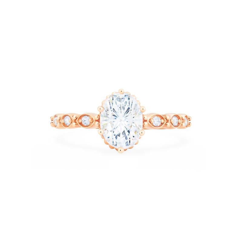 [Evelina] Vintage Classic Crown Oval Cut Ring in Moissanite - Michellia Fine Jewelry