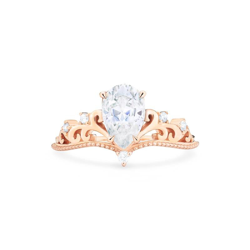 [Veronica] Vintage Crown Pear Cut Ring in Moissanite