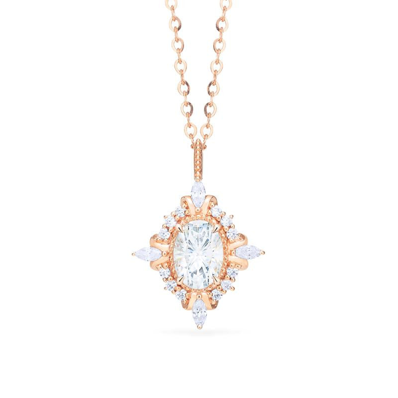 [Alessandra] Art Deco Oval Cut Necklace in Moissanite - Necklace - Michellia Fine Jewelry