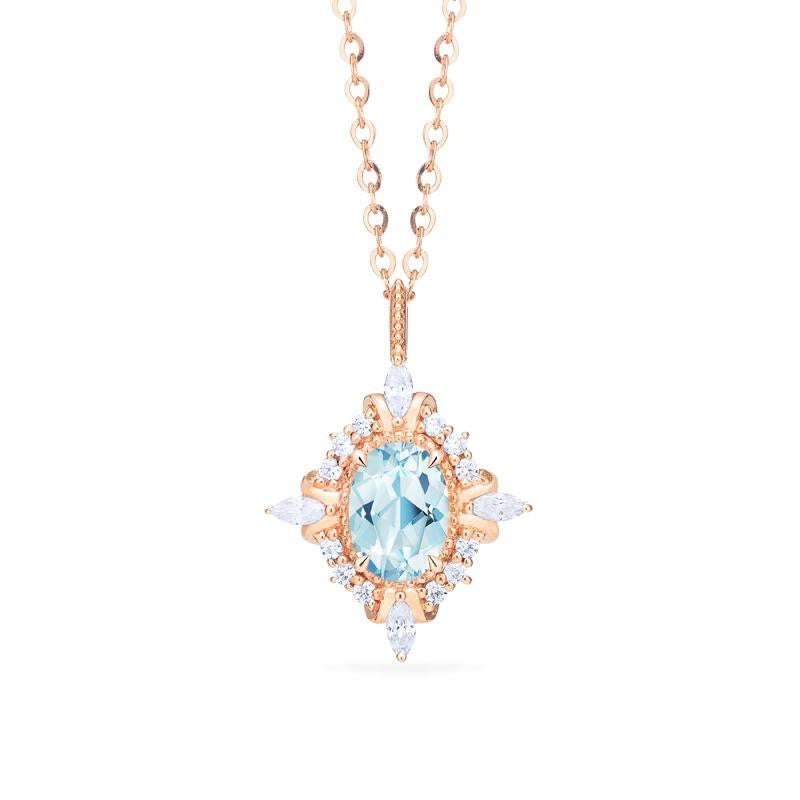 [Alessandra] Art Deco Oval Cut Necklace in Aquamarine - Necklace - Michellia Fine Jewelry