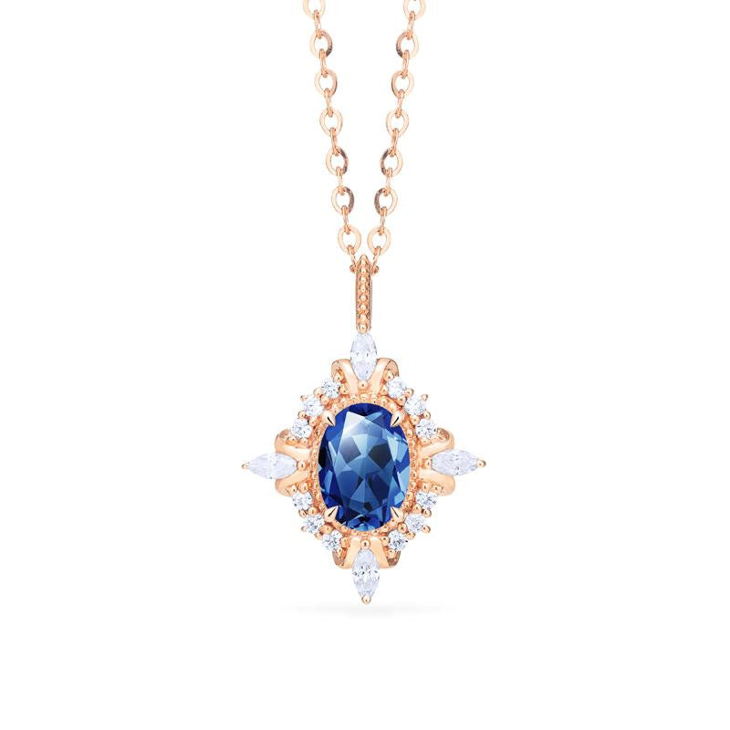 [Alessandra] Art Deco Oval Cut Necklace in Lab Blue Sapphire - Necklace - Michellia Fine Jewelry