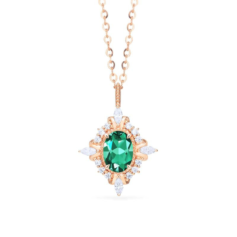 [Alessandra] Art Deco Oval Cut Necklace in Lab Emerald - Necklace - Michellia Fine Jewelry