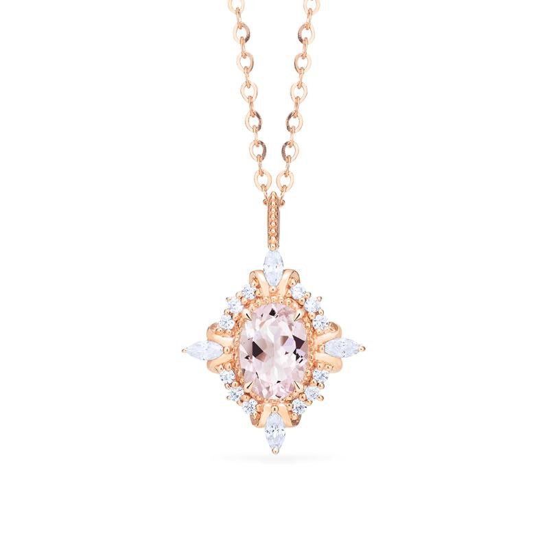 [Alessandra] Art Deco Oval Cut Necklace in Morganite - Necklace - Michellia Fine Jewelry