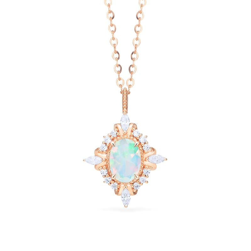 [Alessandra] Art Deco Oval Cut Necklace in Opal - Necklace - Michellia Fine Jewelry