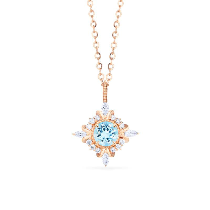[Astrid] Art Deco Petite Necklace in Aquamarine - Necklace - Michellia Fine Jewelry