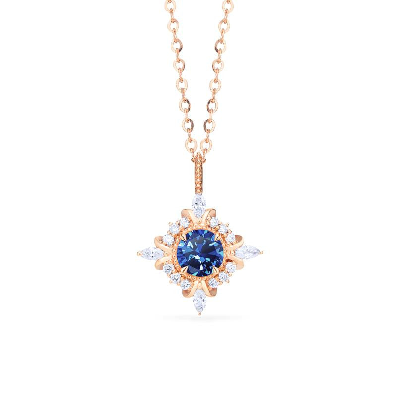 [Astrid] Art Deco Petite Necklace in Lab Blue Sapphire - Necklace - Michellia Fine Jewelry