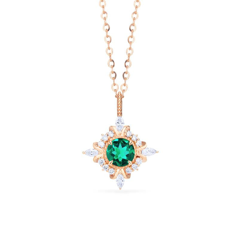 [Astrid] Art Deco Petite Necklace in Lab Emerald - Necklace - Michellia Fine Jewelry