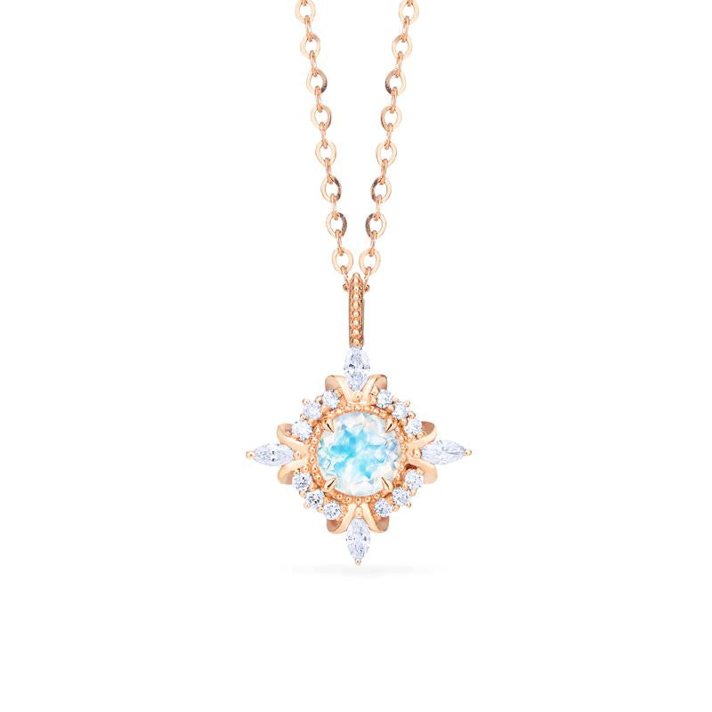 [Astrid] Art Deco Petite Necklace in Moonstone - Necklace - Michellia Fine Jewelry