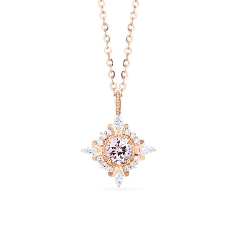 [Astrid] Art Deco Petite Necklace in Morganite - Necklace - Michellia Fine Jewelry