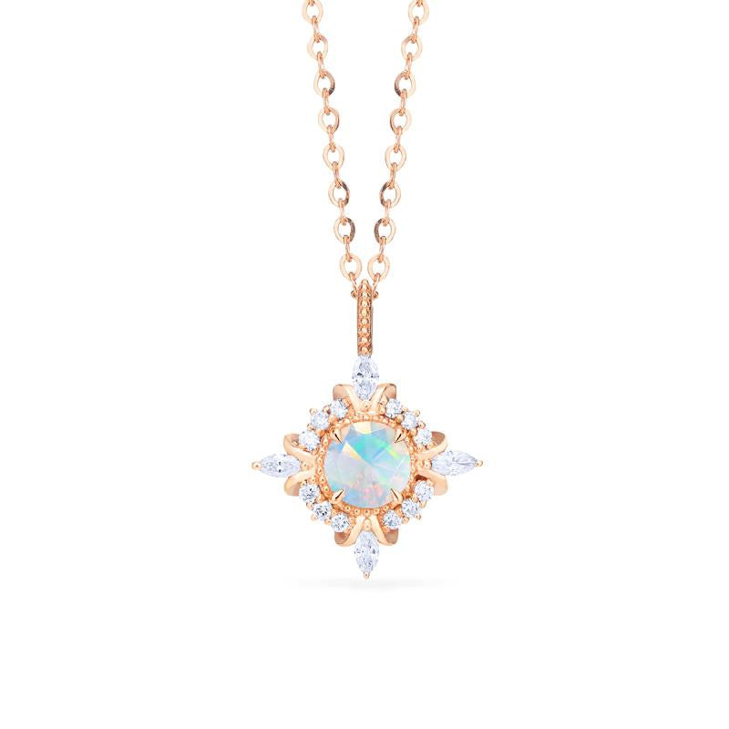 [Astrid] Art Deco Petite Necklace in Opal - Necklace - Michellia Fine Jewelry