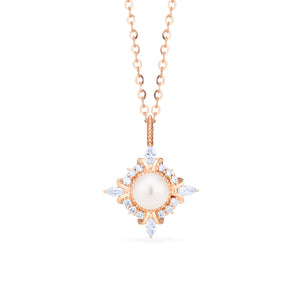 [Astrid] Art Deco Petite Necklace in Akoya Pearl - Necklace - Michellia Fine Jewelry