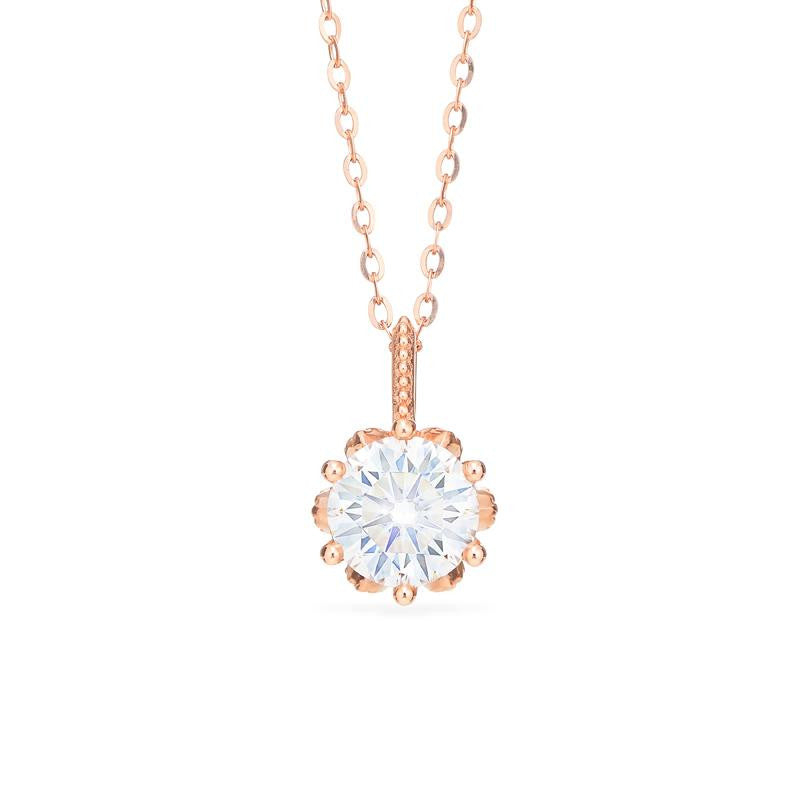 [Eden] Floral Solitaire Necklace in Moissanite - Necklace - Michellia Fine Jewelry