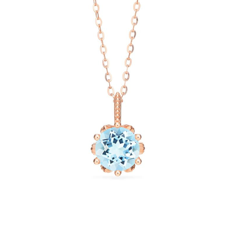 [Eden] Floral Solitaire Necklace in Aquamarine - Michellia Fine Jewelry