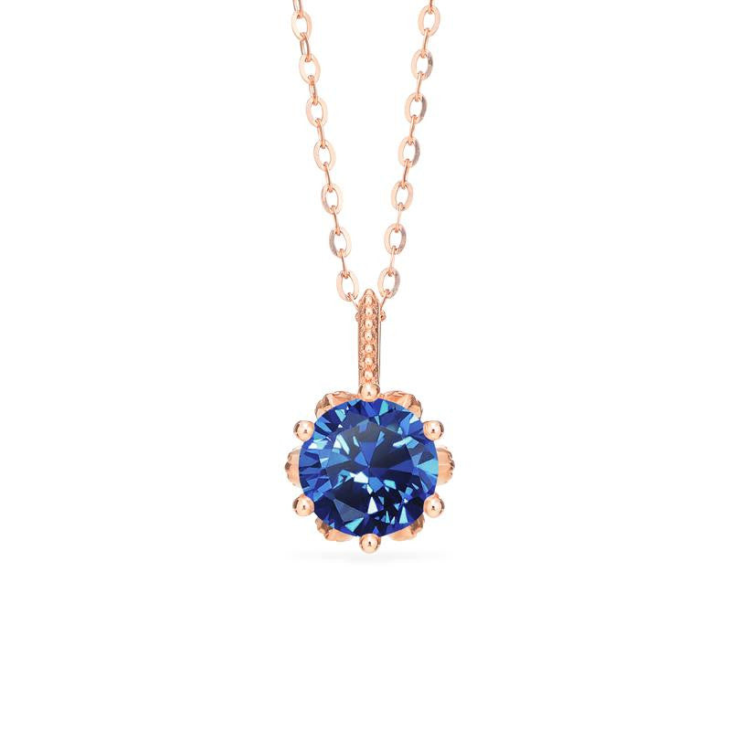 [Eden] Floral Solitaire Necklace in Lab Blue Sapphire - Michellia Fine Jewelry