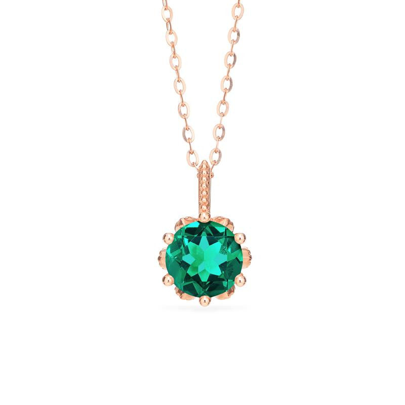 [Eden] Floral Solitaire Necklace in Lab Emerald - Necklace - Michellia Fine Jewelry