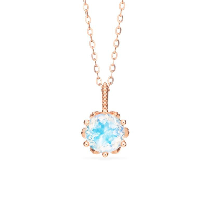 [Eden] Floral Solitaire Necklace in Moonstone - Necklace - Michellia Fine Jewelry