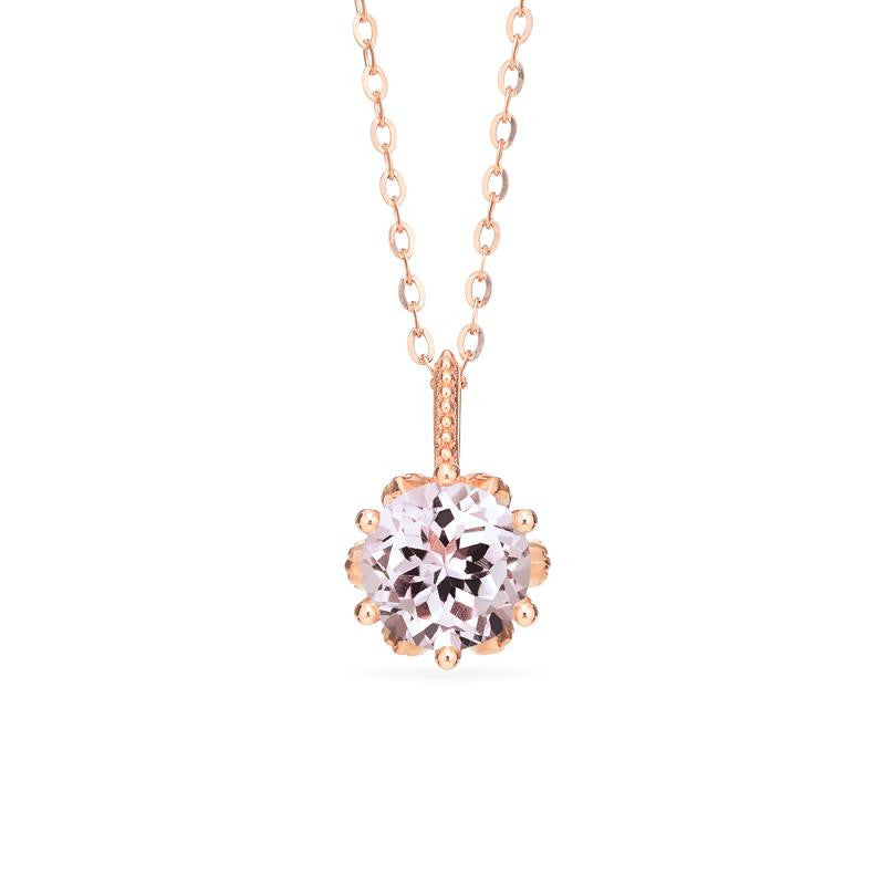 [Eden] Floral Solitaire Necklace in Morganite - Necklace - Michellia Fine Jewelry