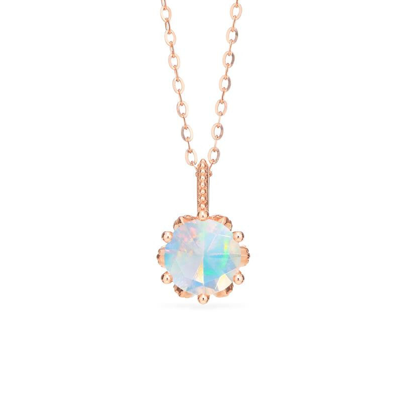 [Eden] Floral Solitaire Necklace in Opal - Necklace - Michellia Fine Jewelry