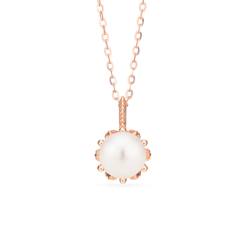 [Eden] Floral Solitaire Necklace in Akoya Pearl - Necklace - Michellia Fine Jewelry