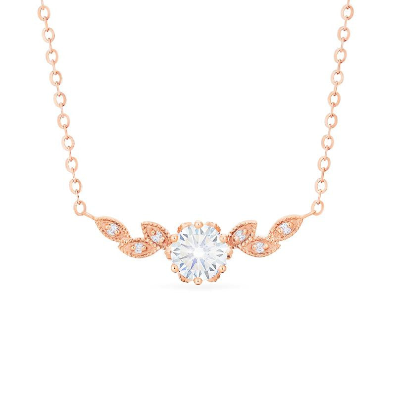 [Dahlia] Floral Leaf Necklace in Moissanite - Necklace - Michellia Fine Jewelry