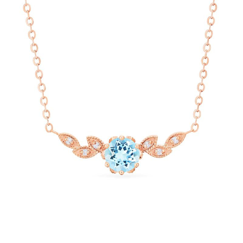 [Dahlia] Floral Leaf Necklace in Aquamarine - Necklace - Michellia Fine Jewelry