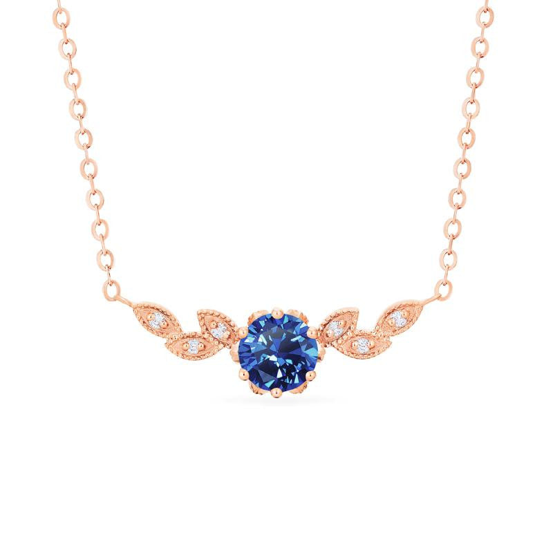 [Dahlia] Floral Leaf Necklace in Lab Blue Sapphire - Necklace - Michellia Fine Jewelry