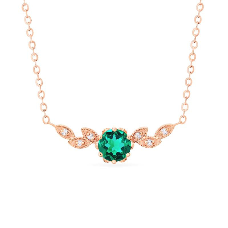 [Dahlia] Floral Leaf Necklace in Lab Emerald - Necklace - Michellia Fine Jewelry