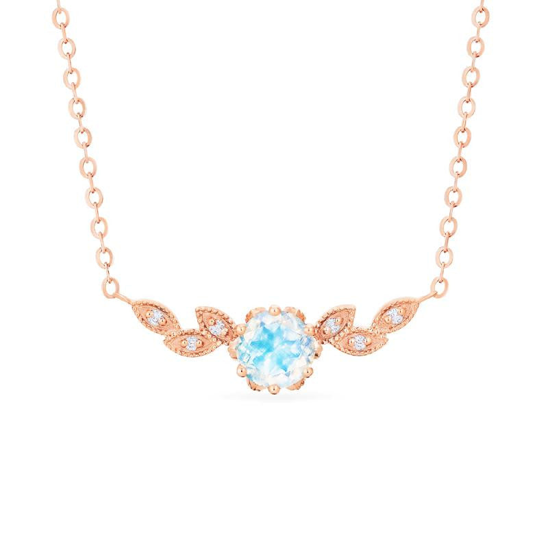 [Dahlia] Floral Leaf Necklace in Moonstone - Necklace - Michellia Fine Jewelry