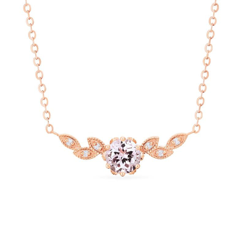 [Dahlia] Floral Leaf Necklace in Morganite - Necklace - Michellia Fine Jewelry