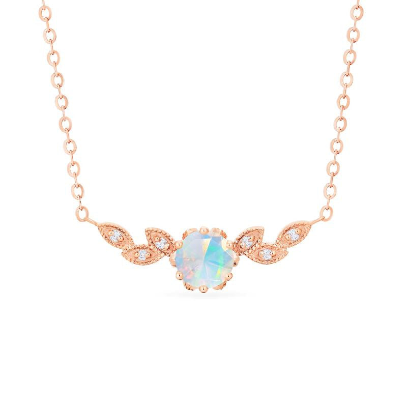[Dahlia] Floral Leaf Necklace in Opal - Necklace - Michellia Fine Jewelry