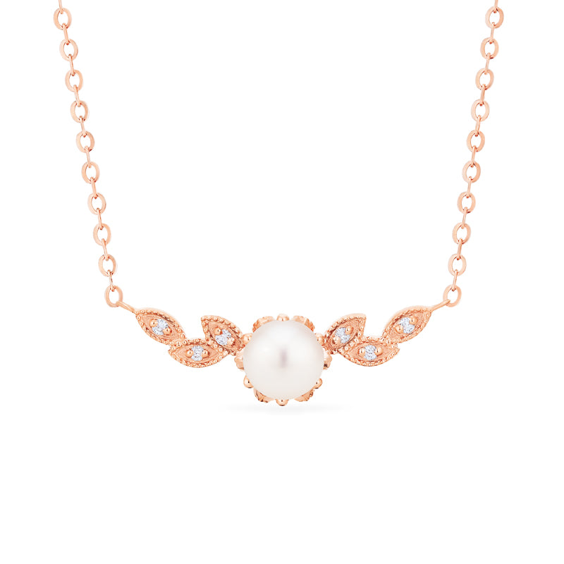 [Dahlia] Floral Leaf Necklace in Akoya Pearl - Necklace - Michellia Fine Jewelry