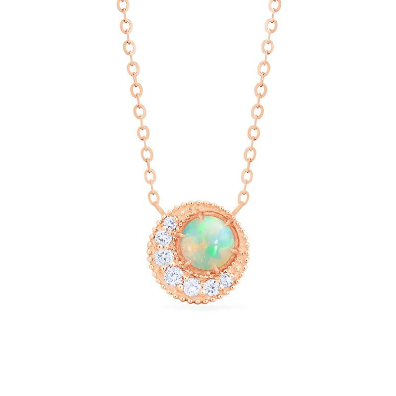 [Luna] Crescent Moon Necklace in Opal - Necklace - Michellia Fine Jewelry