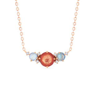 [Celestine] Galaxy Trio Three Stone Necklace in Sunstone, Moonstone, and Labradorite - Necklace - Michellia Fine Jewelry