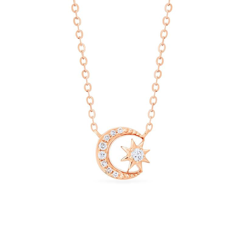 [Divina] Diamond Moon and Star Necklace - Necklace - Michellia Fine Jewelry