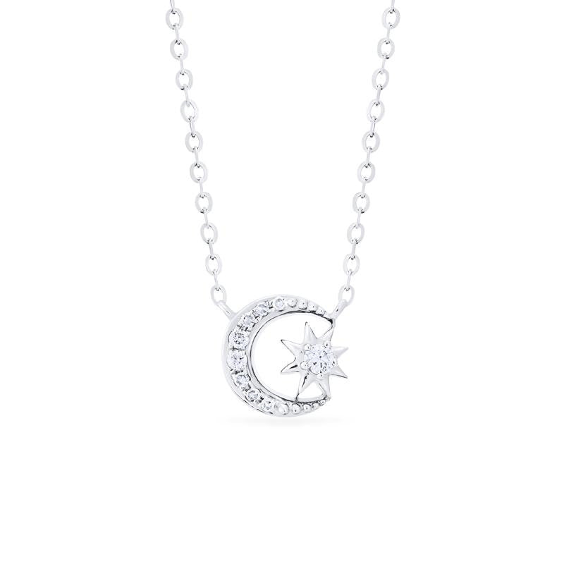 [Divina] Ready-to-Ship Diamond Moon and Star Necklace - Necklace - Michellia Fine Jewelry
