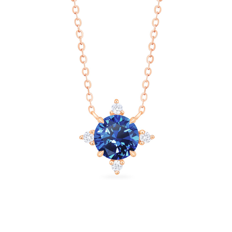 [Polaris] North Star Necklace in Lab Blue Sapphire - Necklace - Michellia Fine Jewelry