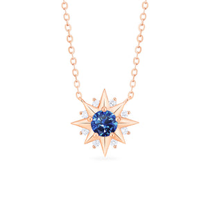 [Astra] Starlight Necklace in Lab Blue Sapphire - Necklace - Michellia Fine Jewelry