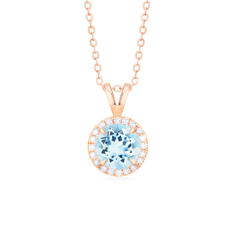 [Nova] Petite Halo Diamond Necklace in Aquamarine - Necklace - Michellia Fine Jewelry