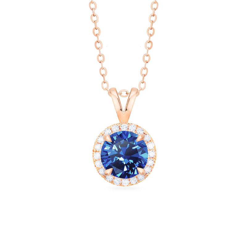 [Nova] Petite Halo Diamond Necklace in Lab Blue Sapphire - Necklace - Michellia Fine Jewelry