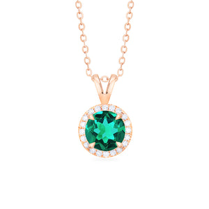 [Nova] Petite Halo Diamond Necklace in Lab Emerald - Necklace - Michellia Fine Jewelry