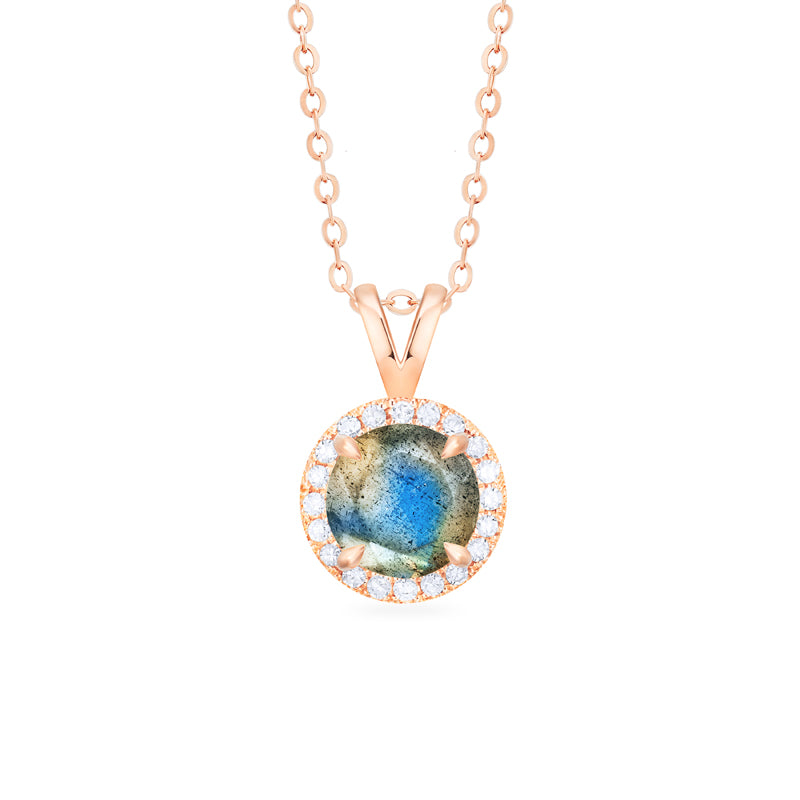 [Nova] Petite Halo Diamond Necklace in Labradorite - Necklace - Michellia Fine Jewelry