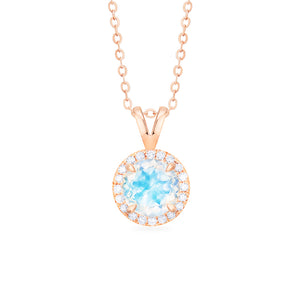 [Nova] Petite Halo Diamond Necklace in Moonstone - Necklace - Michellia Fine Jewelry