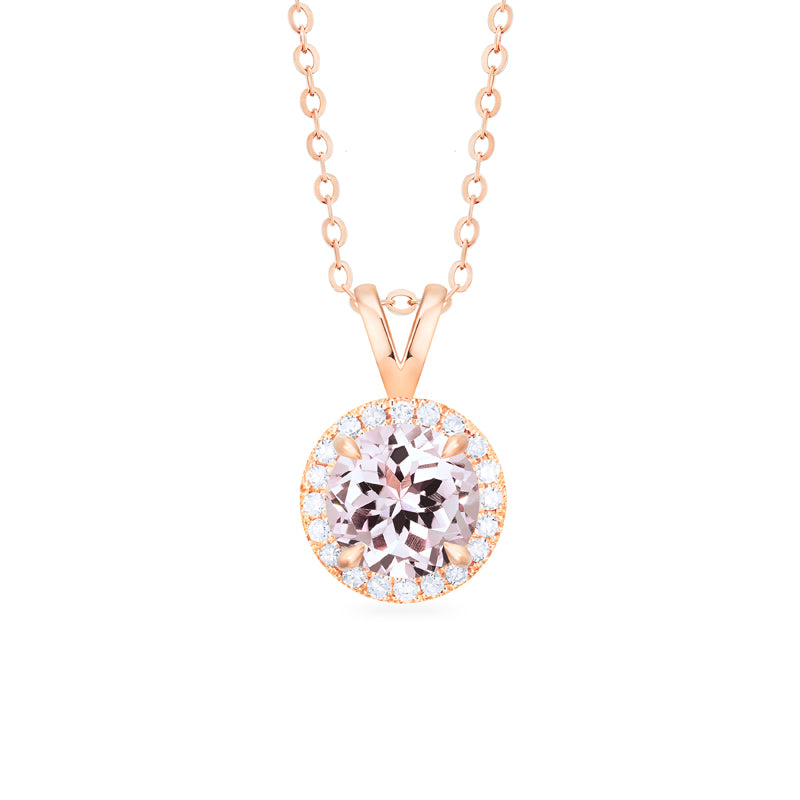 [Nova] Petite Halo Diamond Necklace in Morganite - Necklace - Michellia Fine Jewelry