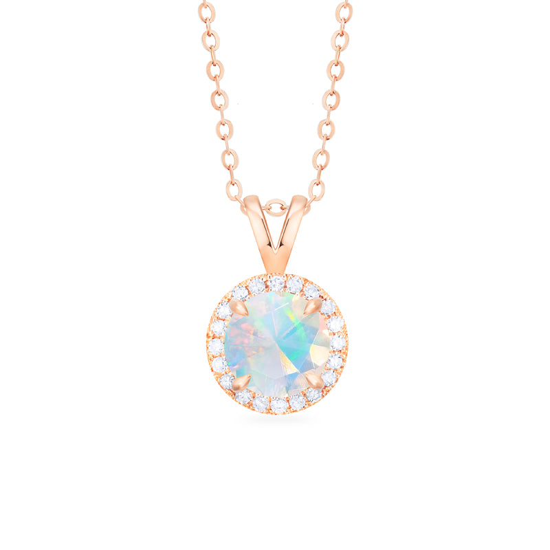[Nova] Petite Halo Diamond Necklace in Opal - Necklace - Michellia Fine Jewelry