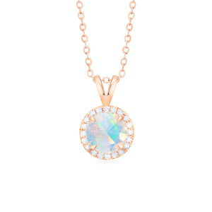 [Nova] Ready-to-Ship Petite Halo Diamond Necklace in Opal - Necklace - Michellia Fine Jewelry