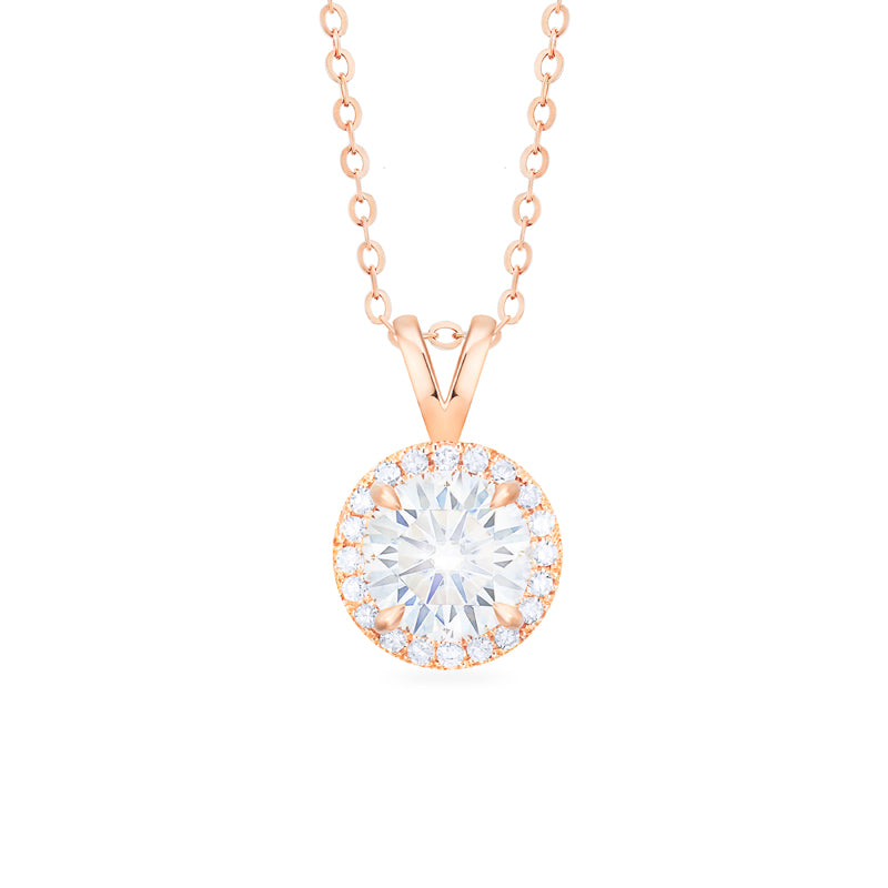 [Nova] Petite Halo Diamond Necklace in Moissanite - Necklace - Michellia Fine Jewelry