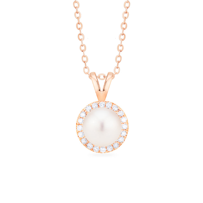 [Nova] Petite Halo Diamond Necklace in Akoya Pearl - Necklace - Michellia Fine Jewelry
