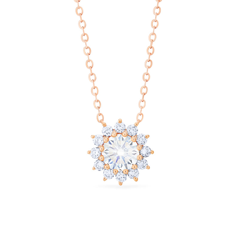 [Rosalie] Vintage Bloom Necklace in Moissanite - Michellia Fine Jewelry